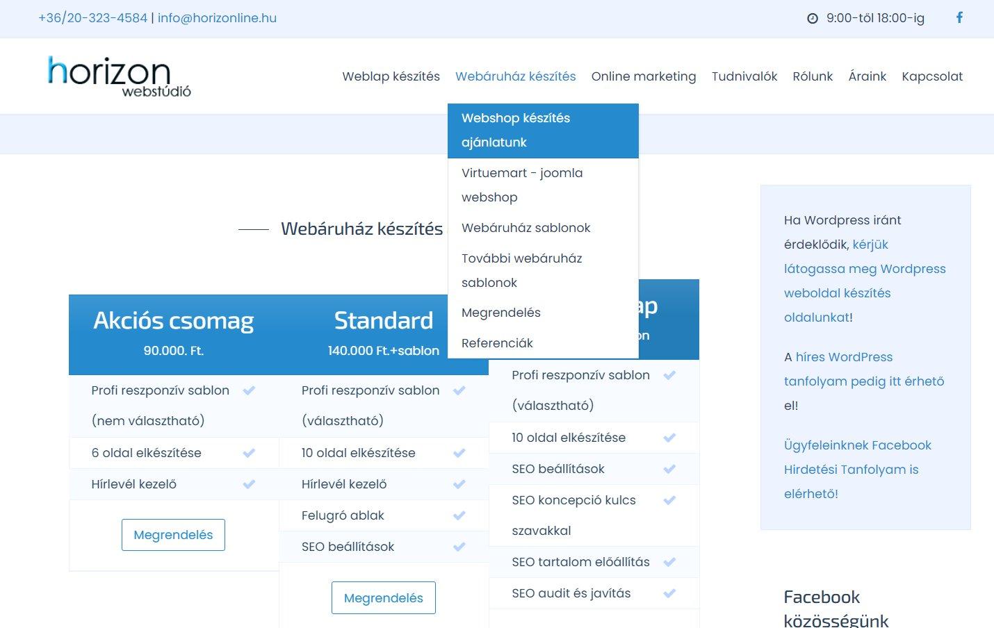 Gyors joomla webshop, webáruház készítés